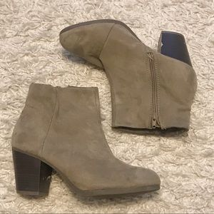 Faux Suede Heeled Ankle Booties